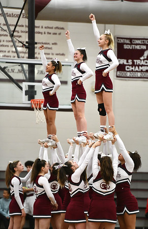 1/3/2020 Mike Orazzi | Staff Bristol Central High School Cheerleaders during Friday night's boys basketball game with New Britain in Bristol.
