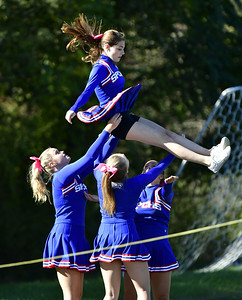 10/5/2019 Mike Orazzi | Staff St Paul Catholic High School Cheerleaders during Saturday's football game with Ansonia in Bristol.
