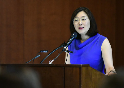 3/5/2020 Mike Orazzi   Staff New Britain Museum of American Art Director Min Jung Kim during the Stanley Black & Decker International Women's Day Celebration in New Britain on Thursday afternoon.