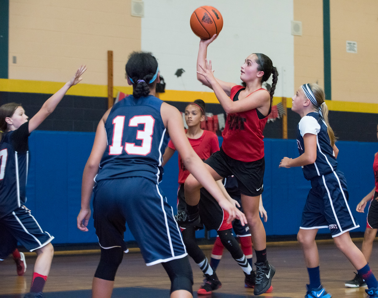 Marissa Forino (6) of the CT Heat with a shot against the CT Spirit on Wednesday night at Roosevelt School in a 12U Nutmeg State Games competition.
