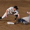 081617  Wesley Bunnell | Staff<br /> <br /> New Britain Bees second baseman Jake McGuiggan (2) applies the tag to the Southern Maryland Blue Crab runner on Wednesday evening at New Britain Stadium.