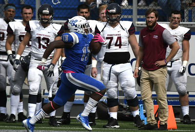 10/7/2017 Mike Orazzi   Staff CCSU's Najae Brown (13) during Saturday's football game with the Penn Quakers in New Britain.