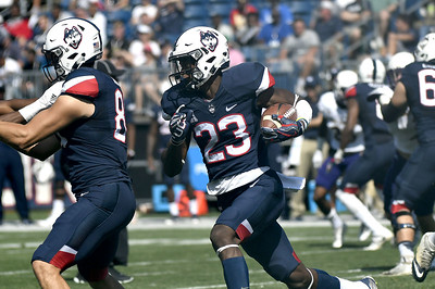 9/24/2017 Mike Orazzi   Staff UConn's Keyion Dixon (23) during Sunday's football game with East Carolina State University at Rentschler Field in East Hartford.