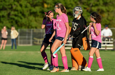 10/10/17  Wesley Bunnell   Staff  Easton vs Newington field hockey on Tuesday afternoon at Newington High School. Players wore pink jerseys in recognition of Breast Cancer Awareness.