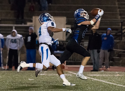 120516 Wesley Bunnell   Staff  Southington Football vs Darien in a Semi-Final game played on Monday evening. Senior WR/DB/QB Anthony Plantamuro #9 watches as the pass is intercepted.