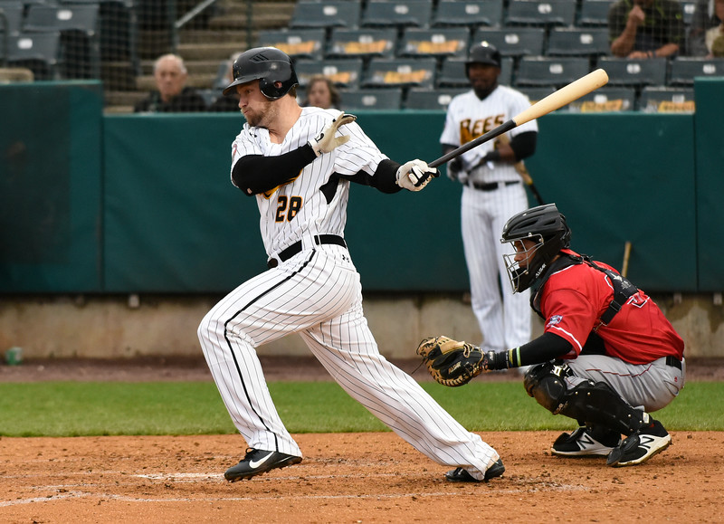 042617  Wesley Bunnell | Staff<br /> <br /> New Britain Bees vs Lancaster Barnstormers on Wednesday evening. Conor Bierfeldt (28)