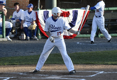 6/1/2017 Mike Orazzi | Staff Bristol Blues' Nick Roy (17) on opening night at Muzzy Field Thursday.