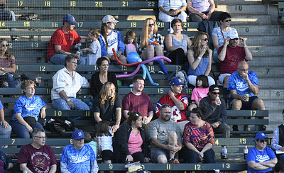 6/1/2017 Mike Orazzi | Staff Bristol Blues' fans on opening night at Muzzy Field Thursday.