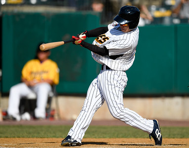 070417  Wesley Bunnell   Staff  The New Britain Bees were defeated by the Somerset Patriots on Tuesday afternoon. Tsuyoshi Fujiwara (9) collects his first professional hit with a two run double.