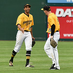 052617  Wesley Bunnell | Staff  The New Britain Bees were defeated by the Southern Maryland Blue Crabs 3-1 on Friday evening. Conor Bierfeldt (28) laughs along with Mike Crouse (10) after ma ...