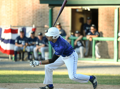 070317  Wesley Bunnell   Staff  The Bristol Blues held military appreciation night at Muzzy Field on Monday evening. Mitch Williams (2) puts a swing on a pitch low in the zone.
