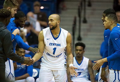 11/30/17   Wesley Bunnell | Staff  CCSU Men's Basketball defeated North Carolina A&T on Thursday evening at Derrick Gymnasium in New Britain. Tyler Kohl (1) during introductions.