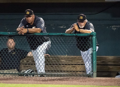 08/22/18  Wesley Bunnell   Staff  The New Britain Bees vs the Road Warriors at New Britain Stadium on Wednesday night. Pitching Coach Mauro Gozzo and Manager Wally Backman.