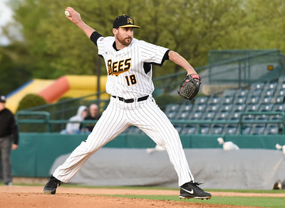 051217  Wesley Bunnell | Staff  The New Britain Bees defeated the Long Island Ducks 6-0 on Friday evening. Kyle Simon (18)