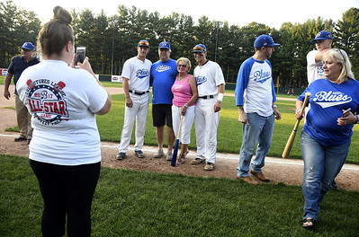 8/3/2017 Mike Orazzi   Staff Host families being honored before the start of the Bristol Blues game at Muzzy Field Thursday evening.