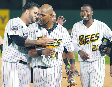 05/04/18  Wesley Bunnell   Staff  The New Britain Bees held opening night at New Britain Stadium on Friday night against the Road Warriors. Deibinson Romero (24) is congratulated by teammates after hitting a game winning single in the bottom of the 10th to give the Bees their first victory of the season.