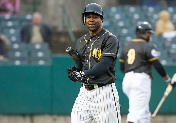 05/03/19  Wesley Bunnell | Staff  The New Britain Bees home opener vs the Somerset Patriots on Friday night at New Britain Stadium.  Alejandro De Aza (8) reacts after striking out.