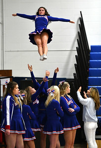 1/15/2020 Mike Orazzi | Staff St. Paul Catholic High School Cheerleaders at Wednesday night's boys basketball game with Watertown in Bristol.