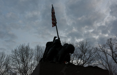 022217  Wesley Bunnell | Staff  The Iwo Jima Memorial in New Britain is shown in silhouette. Feb. 23rd is the 72nd anniversary of the famous flag raising depicted on the monument.