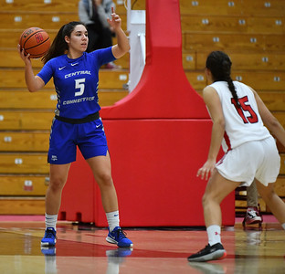 12/21/2019 Mike Orazzi | Staff CCSU's Bruna Vila Artigues (5) during Saturday's women's basketball game with The University of Hartford in West Hartford.