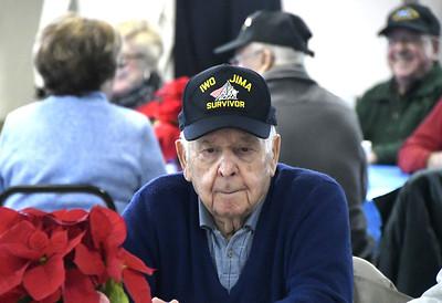 12/7/2017 Mike Orazzi | Staff Iwo Jima Survivor Joe Caminiti during the Pearl Harbor Day at Bristol American Legion Thursday morning.