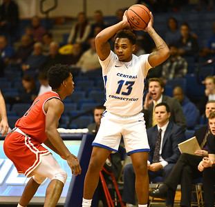 1/4/2020 Mike Orazzi | Staff Central Connecticut State University's Jamir Reed (13) during Saturday's men's basketball game in New Britain.