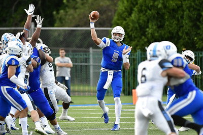 9/15/2018 Mike Orazzi | Staff CCSU's Jacob Dolegala (9) during Saturday's football game in New Britain.