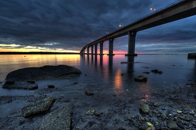 Jamestown Bridge low tide sunset, jamestown, Rhode Island