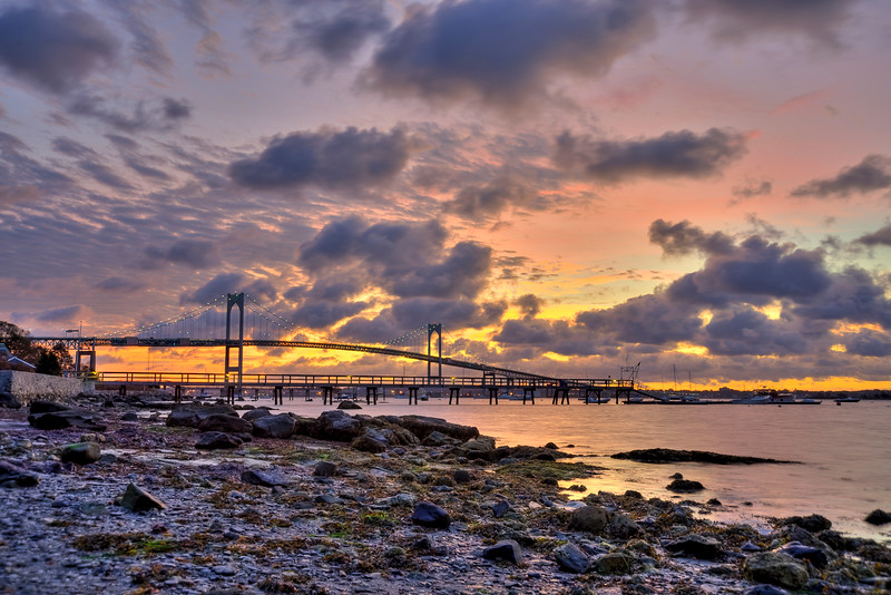 Low tide sunrise, Newport Pell Bridge from Jamestown RI