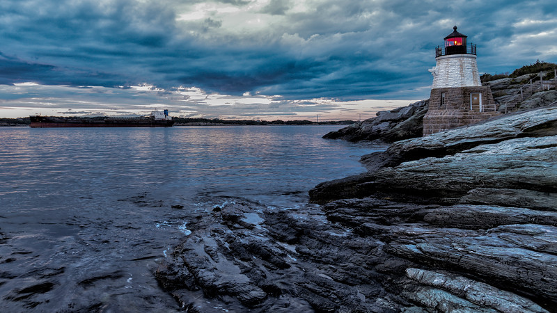 Castle Hill Light at the entrance to the East Passage of Narragansett Bay.