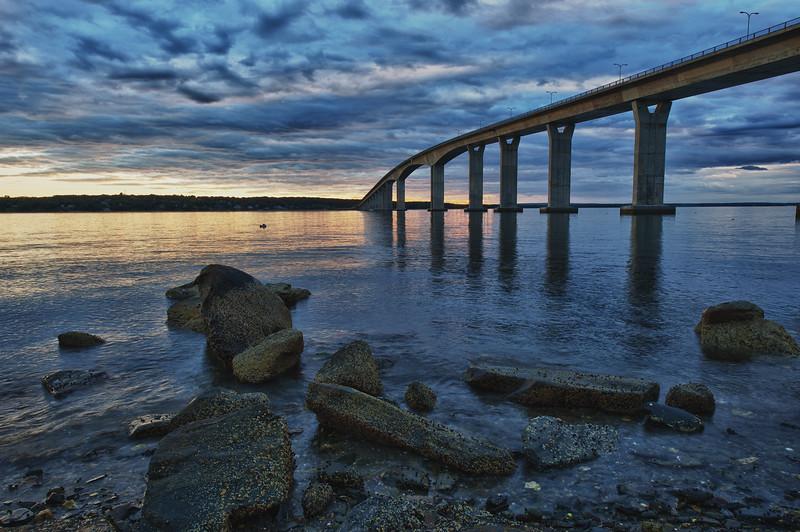 Jamestown Bridge low tide sunset.