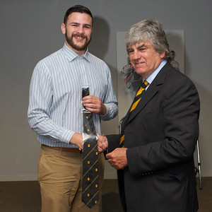 Adam Brown 20 appearances tie. Presented by Will Godfrey.