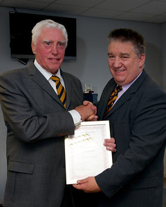 Brian Price presented with Hon Patron of FoNR certificate by John Evans, membership secretary of FoNR.