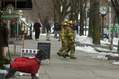 Saratoga Springs Fire Department were on scene checking every building from Adirondack Trust to the former Grey Gelding as they had repeated calls for smell of gasoline. Photo Erica Miller 1/30/12 news_GasLeak_Tues