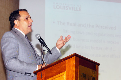 "Executive in Residence at the University of Louisville College of Business Equine Program spoke at the Saratoga Institute on Racing and Gaming Law on ""How Should We Regulate Racing?"" at the Gideon Putnam Tuesday morning. Photo Erica Miller 8/3/10 news_RaceGameLaw1_Wed"