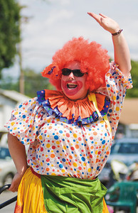 June Matica clowns it up during the turning point parade in Schuylerville Sunday. Photo Eric Jenks 8/1/10