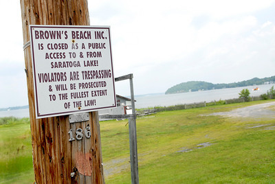 "Brown's Beach closed at Saratoga Lake where the Saratoga Springs City owned lake front property that they ""will be renovating."" Photo Erica Miller 8/1/11"