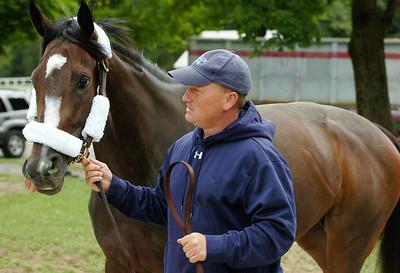 Assistant Trainer for Steve Asmussen, Scott Blasi leads Rachel Alexandra to the Saratoga Race Course Wednesday morning. Photo Erica Miller 6/30/10 spt_RachelSAR2_Thurs