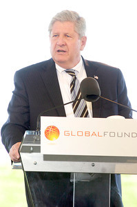 NYS Senator Roy McDonald spoke at the Saratoga Technology and Energy Park ground breaking ceremony of their newest administrative building on FAB8 campus at GlobalFoundries. Photo Erica Miller 6/30/11 news_GloFoAdmin5_Fri
