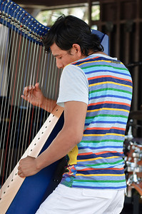 Edmar Castañeda, a Colombian harpist, performs at the Gazebo of SPAC Sunday afternoon during the 35th annual Freihofer's Jazz Festival. Photo Eric Jenks 7/1/12