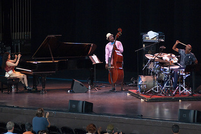 The Trio of Oz (Rachel Z, Solomon Dorsey and Omar Hakim) perform on the mainstage at SPAC Sunday afternoon during the 35th annual Jazz festival. Photo Eric Jenks 7/1/12