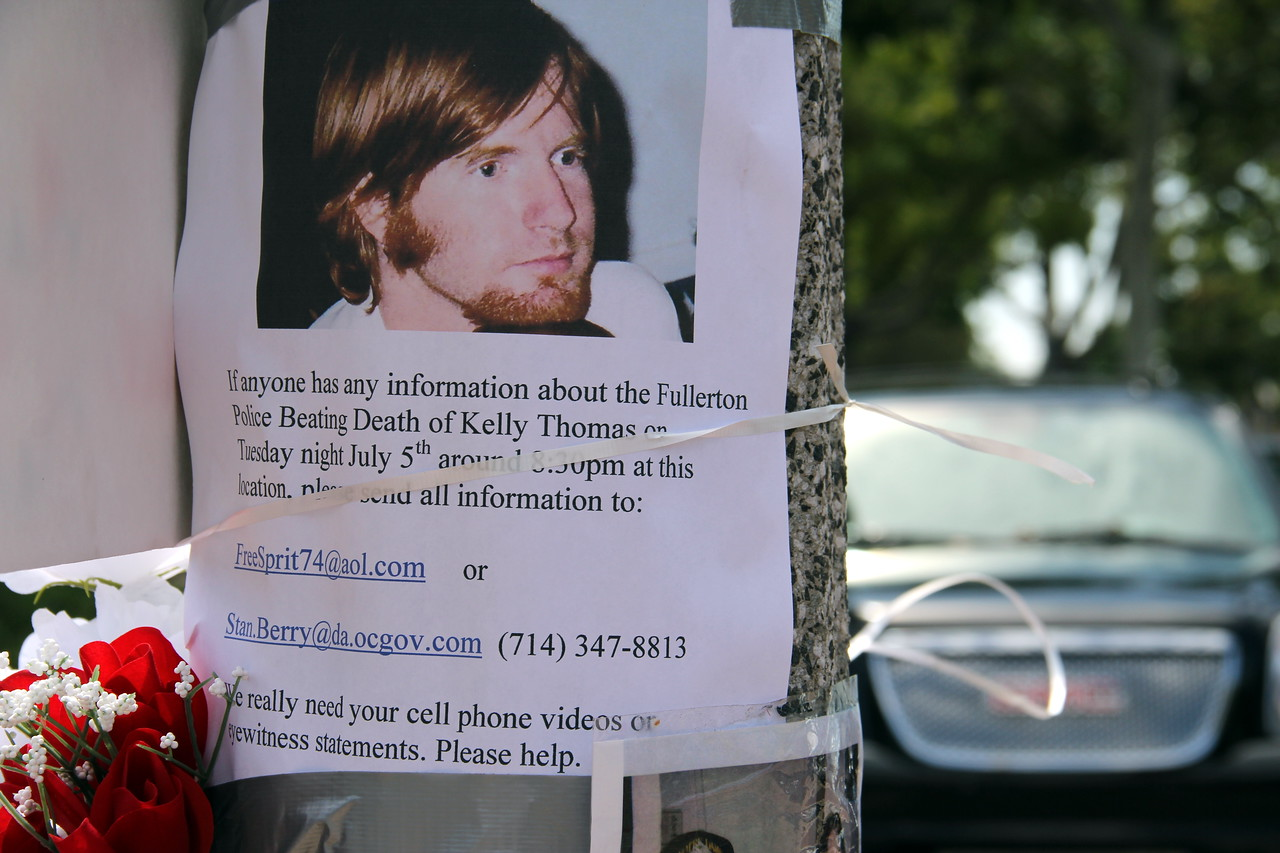 Kelly Thomas, a 37-year-old homeless man who was beaten to death by six Fullerton police officers earlier this month. All the details and facts are still not known.