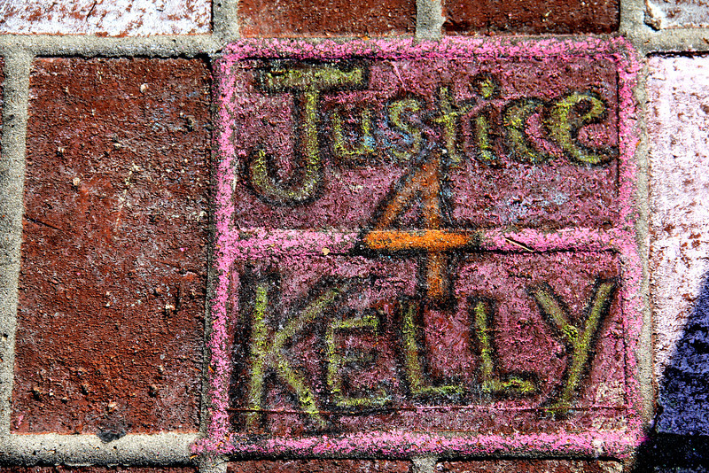 Kelly Thomas Beating Site.  chalk art memorial - Fullerton Ca.