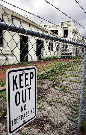 Globe/T. Rob Brown<br /> Signs warn passersby to stay out of the Joplin Union Depot building as seen Tuesday afternoon, July 6, 2010, in downtown Joplin.