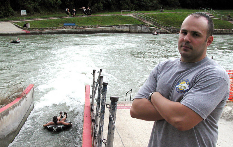 NEW BRAUNFELS, Texas -- Staff Sgt. Boyd Myers revisits the river where he rescued a mother and daughter from its rapids.  He is a Web applications developer at the Air Force Personnel Center at nearby Randolph Air Force Base.  (U.S. Air Force photo by Capt. Brandon Lingle)