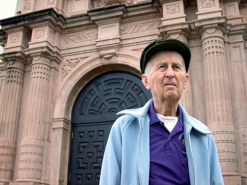 """RANDOLPH AIR FORCE BASE, Texas -- Martin """"Mike"""" Mikulski, 90, stands outside the chapel here.  He has been helping out at base chapels since the 1940s.  (U.S. Air Force photo by 1st Lt. Brandon Lingle)"""