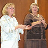 Vicki Troxel Harris, at right, told many stories about contributions made by blacks in Nebraska during her presentation sponsored by the NeKota Reading Council at Chadron State College on Monday night. She was introduced by Dr. Ann Petersen. (Photo by Con Marshall)
