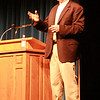 Former Denver Broncos defensive standout Karl Mecklenburg speaks in Chadron State College's Memorial Hall on Thursday, Sept. 10. (Photo by Justin Haag)