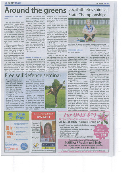'Women's FREE Self Defence Course – Noosa 10th November 2012' (Noosa Today)