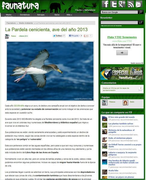 "<span style=""color:#CDC9C9""><strong>05 Febrero 2013 · 5th February 2013<br> El blog FAUNATURA ha publicado una de mis imágenes de Pardela Cenicienta (Calonectris diomedea), encantado de colaborar con ellos! Podéis ver una captura de pantalla más abajo o visitar la web en http://www.faunatura.com/pardela-cenicienta-ave-ano-2013.html</span></center></font></strong><br>  <span style=""color:#EED5B7"">FAUNATURA blog posted one of my images from Cory´s Shearwater (Calonectris diomedea), pleased to collaborate with them! You can see a screenshot below or visit the website at http://www.faunatura.com/pardela-cenicienta-ave-ano-2013.html</span></center>"